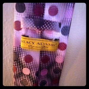 Stacy Adams Tie Pink with Polka Dots